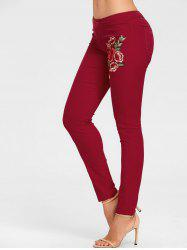 Flower Embroidered Colored Skinny Jeans -