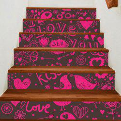 Love Theme Print Home Ornament Decorative Stair Stickers -