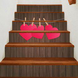 Wood Grain Hanging Heart Pattern Stair Stickers -