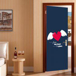 Heart Wings Pattern Valentines Day Door Cover Stickers -