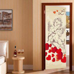 Cupid Heart Pattern Valentines Day Door Cover Stickers -