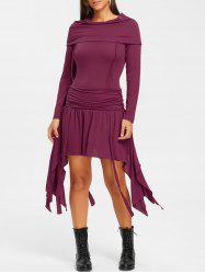 Ruched Bertha Collar Dress -