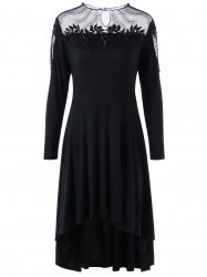 Plus Size Sheer Appliqued High Low Dress -