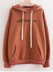Letter Embroidered Oversized Drawstring Hoodie -