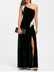 Applique One Shoulder Evening Dress -