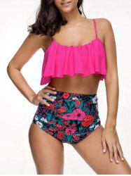 Floral High Waisted Bikini with Flounce -