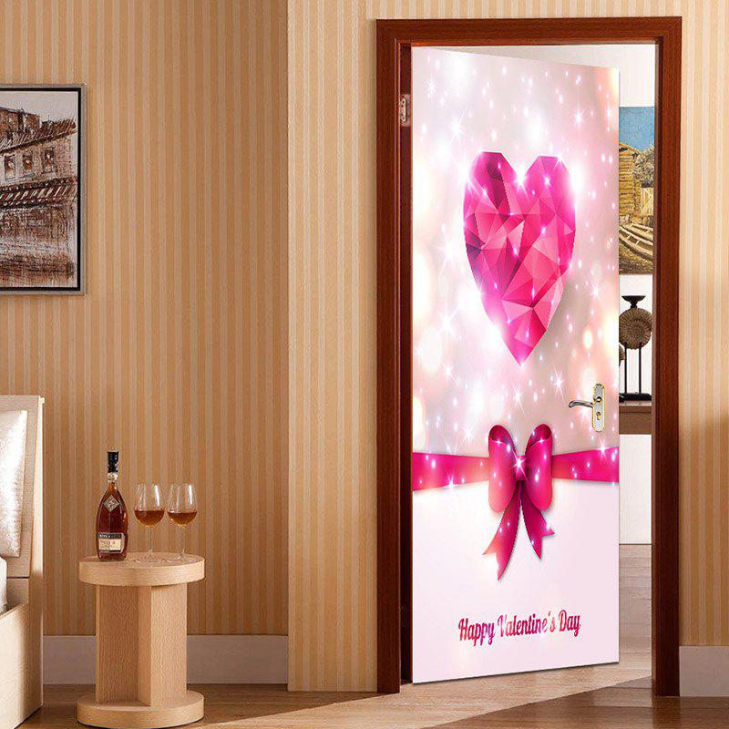Affordable Valentine's Day Heart and Bowknot Print Enviromental Removable Door Stickers
