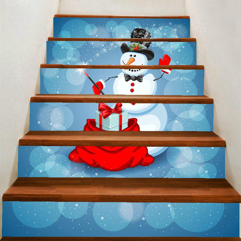 Fancy Christmas Snowman Magician Printed Home Decoration Removable Stair Stickers