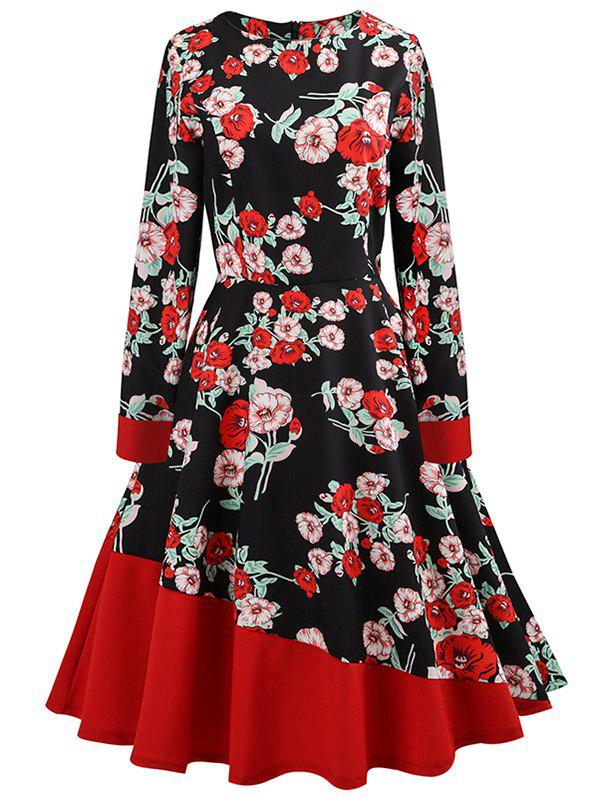 Cheap Skinny Waist Floral Print A Line Dress