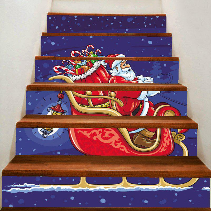 Latest Christmas Santa Claus Drives A Sleigh Pattern Stair Stickers