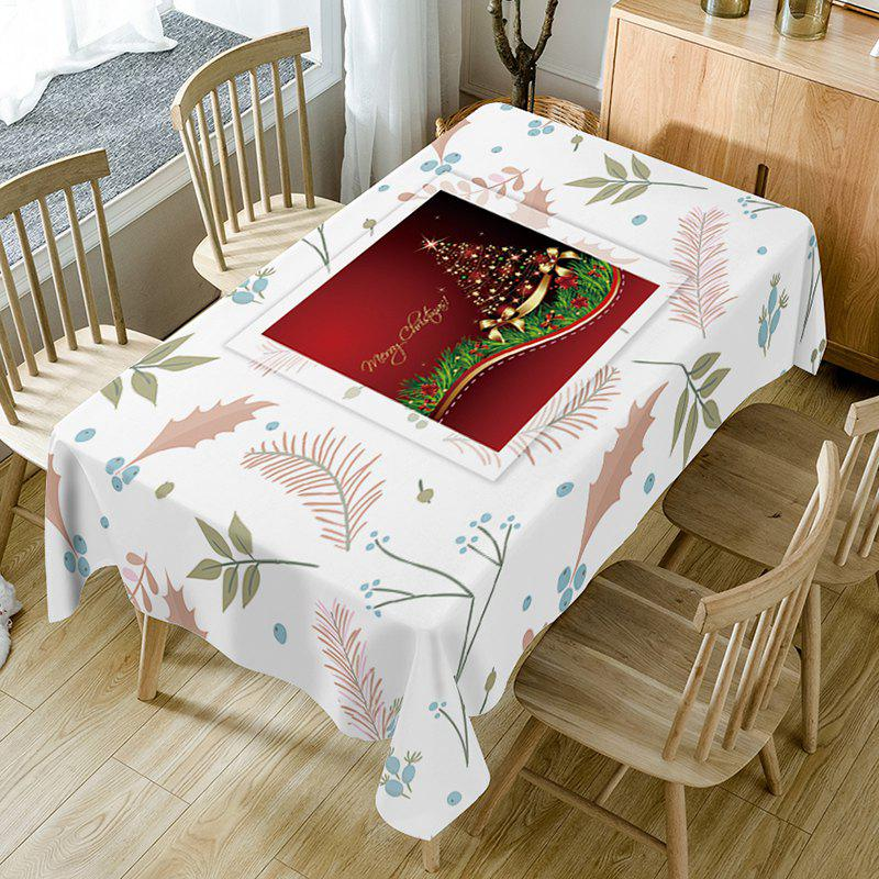 Trendy Christmas Tree Leaves Print Fabric Waterproof Table Cloth