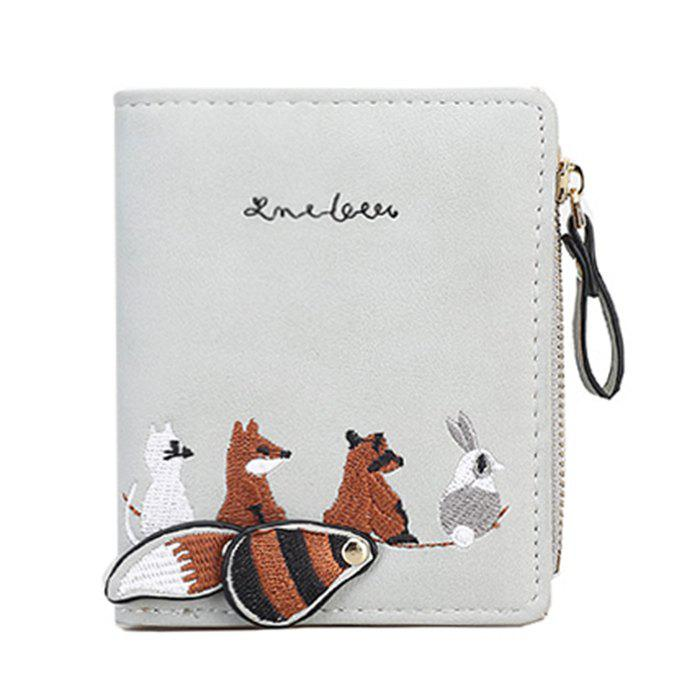 Buy PU Leather Animal Pattern Embroidery Wallet