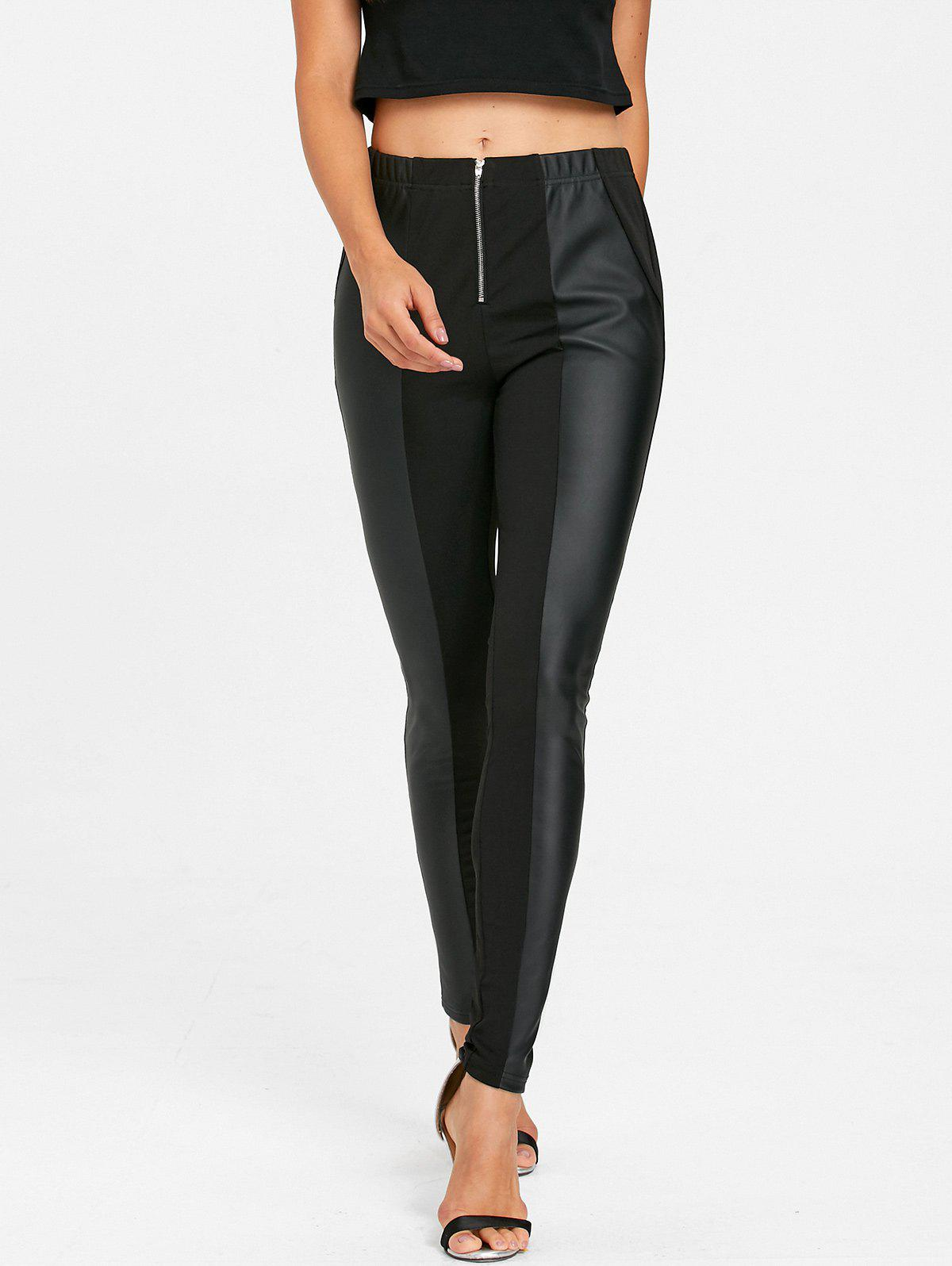 Online Faux Leather Insert Fitted Pants
