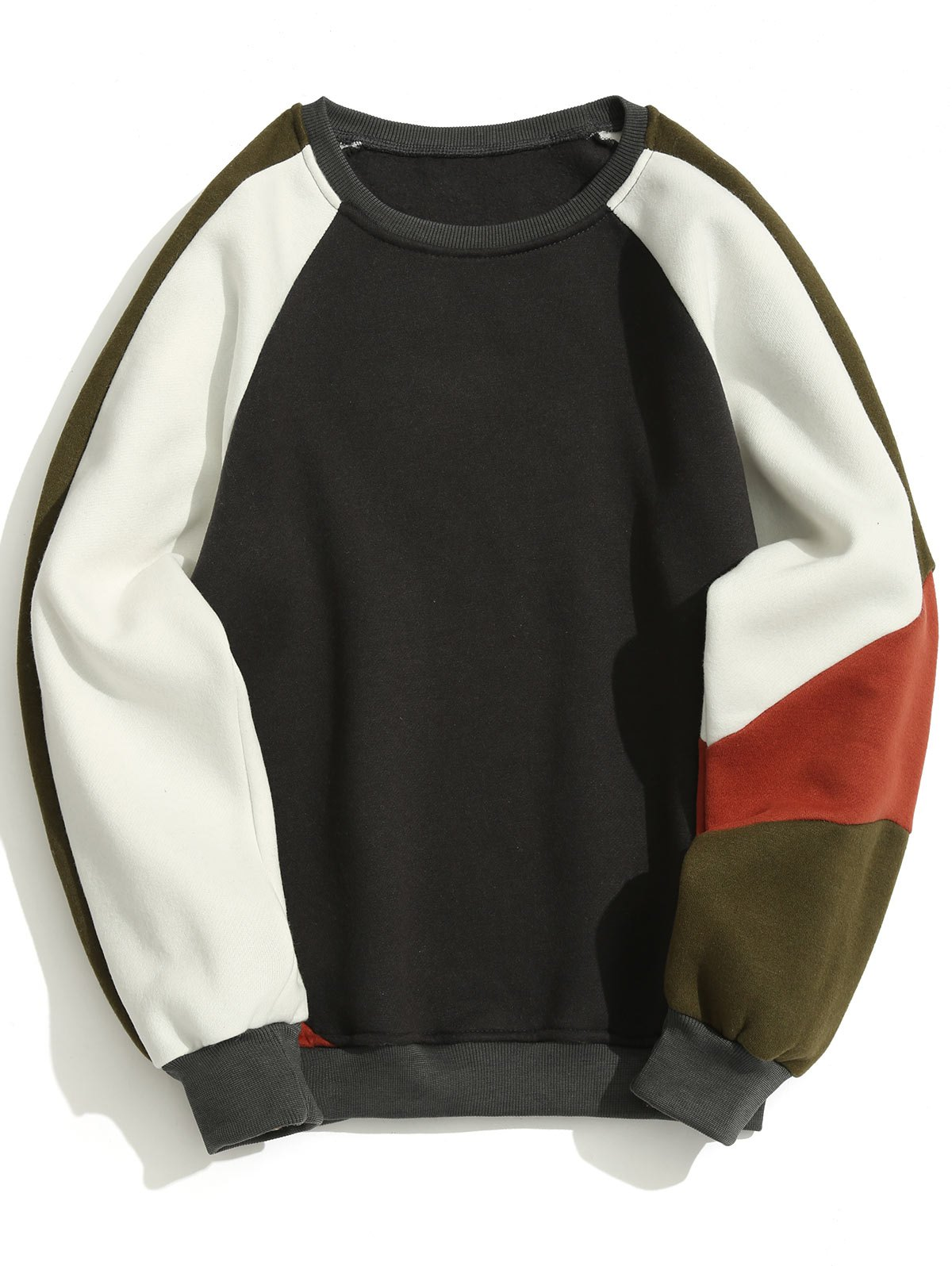 Affordable Fleece Color Block Crew Neck Sweatshirt