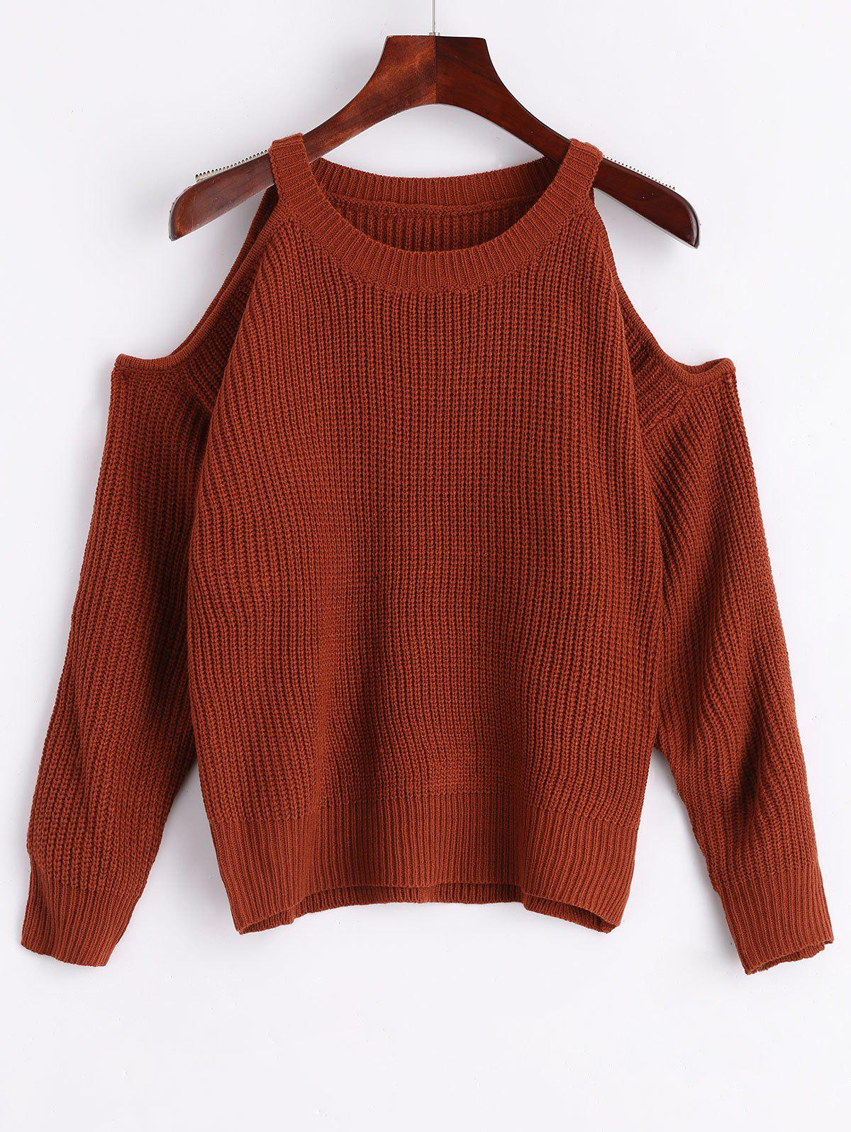 Discount Cold Shoulder Crew Neck Pullover Sweater