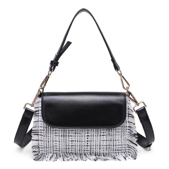 Fancy Contrasting Color Frayed Edge Crossbody Bag