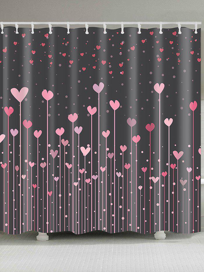 Latest Hearts Printed Waterproof Valentines Day Shower Curtain