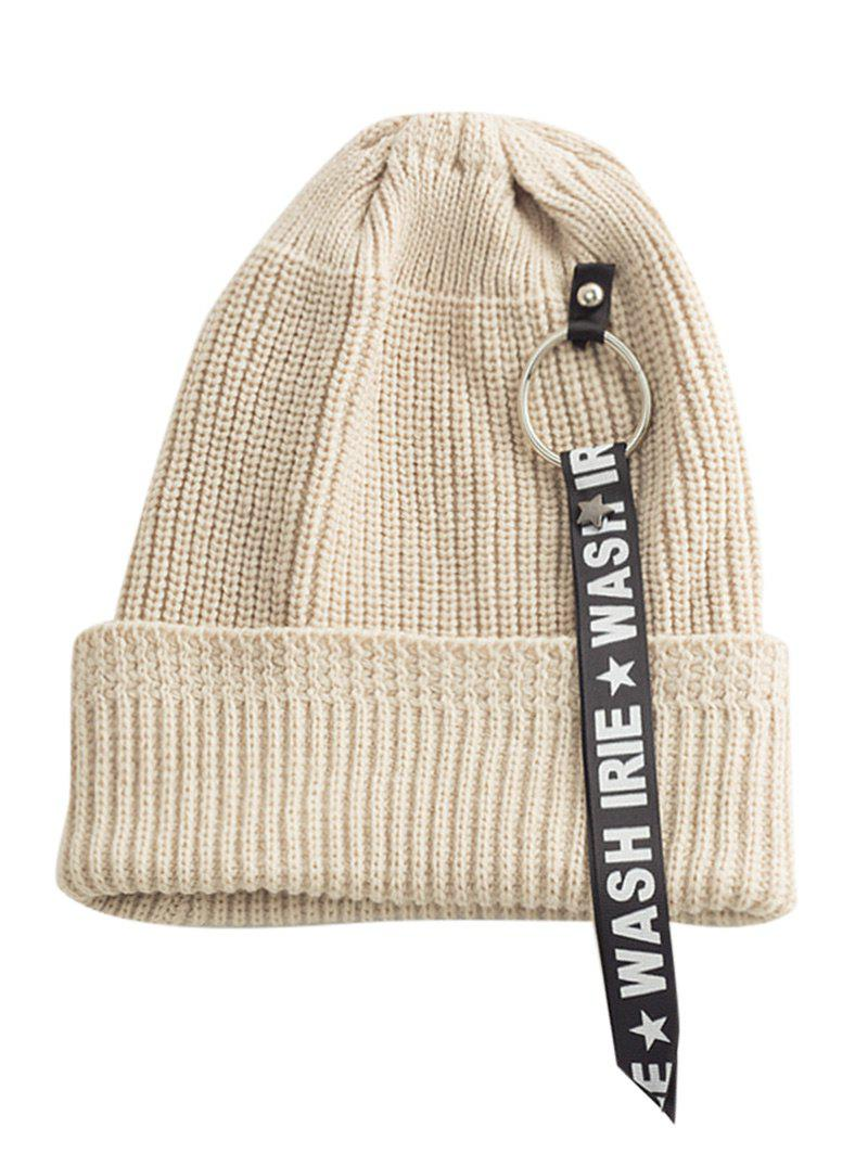 Sale Letter Printing Pattern Embellished Flanging Ribbon Beanie
