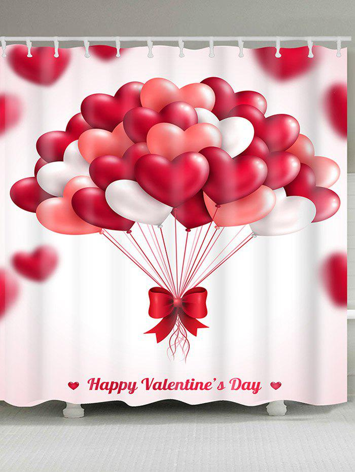 Hot Waterproof Heart Balloons Printed Valentines Day Shower Curtain