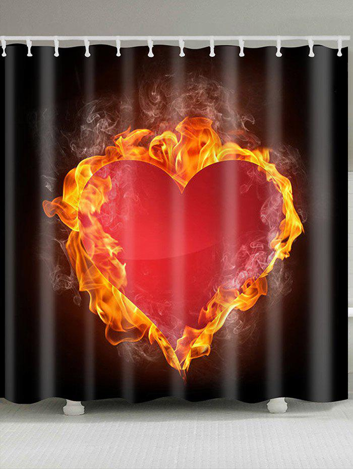 Fashion Fire Heart Printed Waterproof Valentines Day Shower Curtain