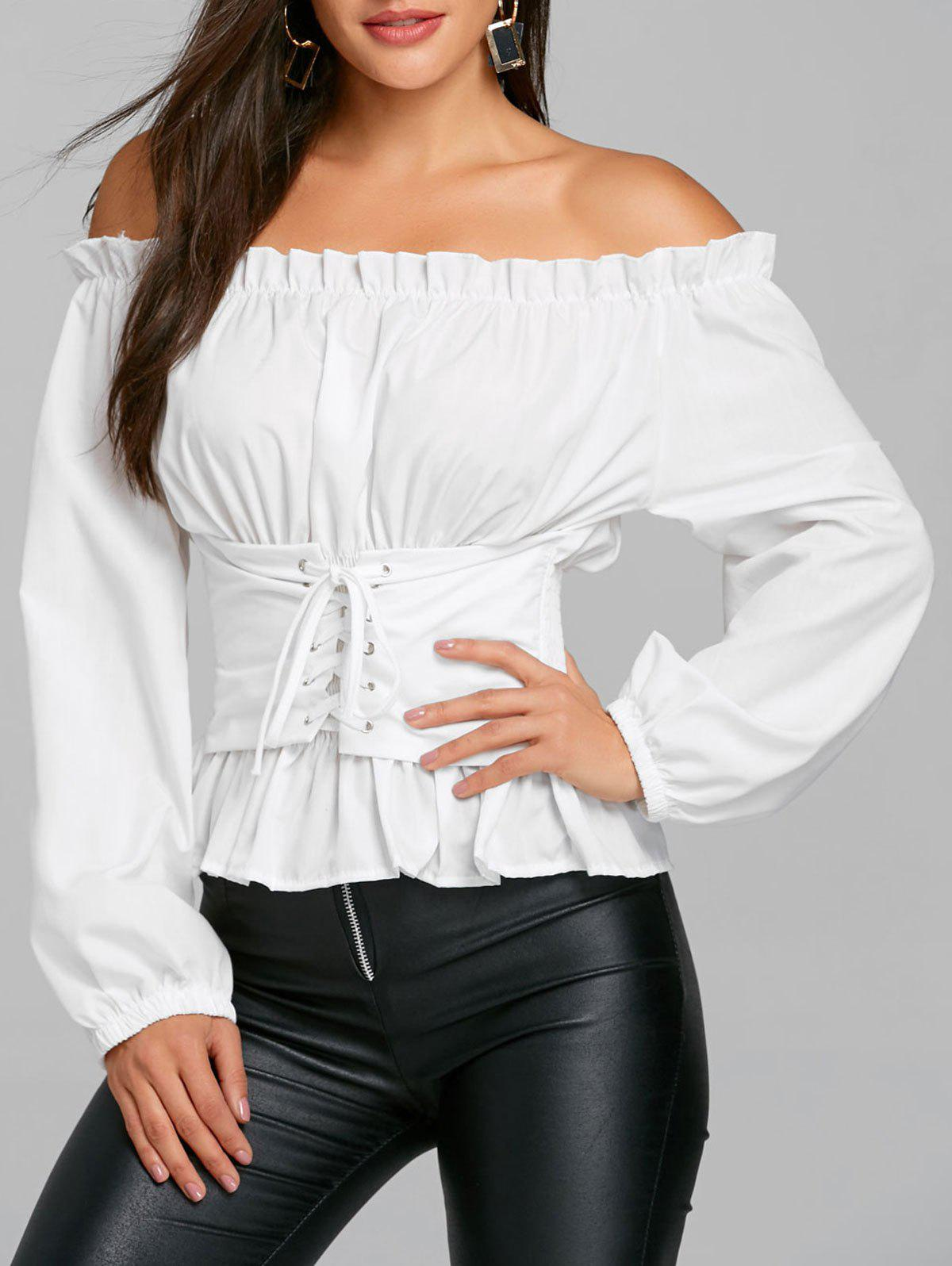 Outfits Smocked Lace Up Off The Shoulder Blouse
