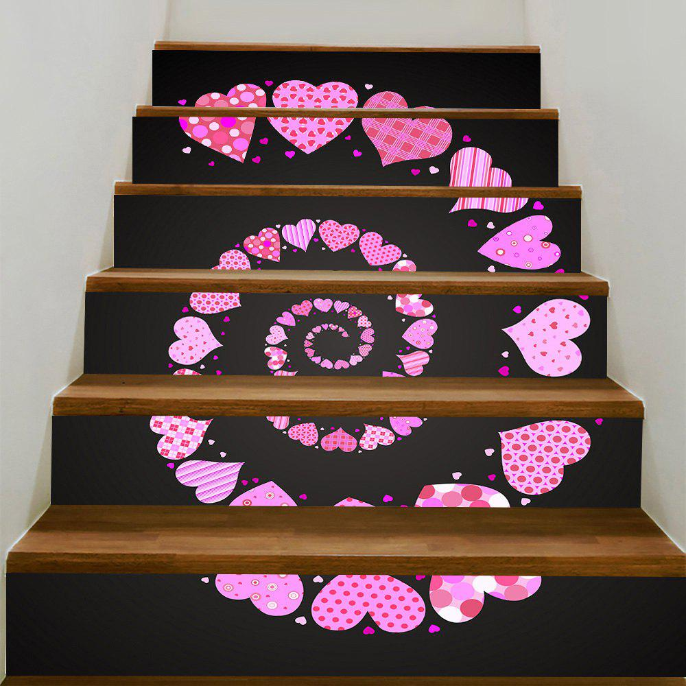 Unique Valentine's Day Spiral Heart Pattern Removable Stair Stickers