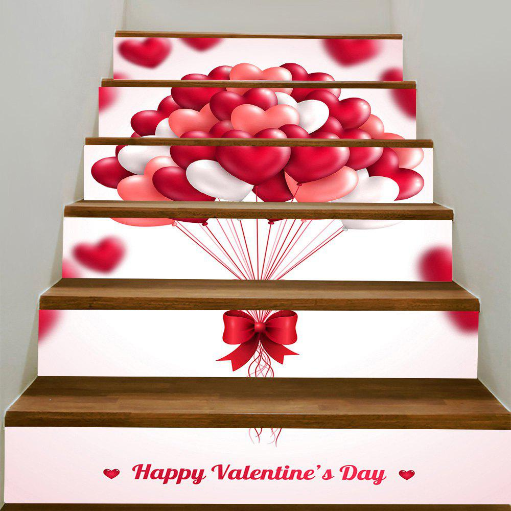 Outfits Valentine's Day Romantic Heart Balloon Pattern Decorative Stair Stickers