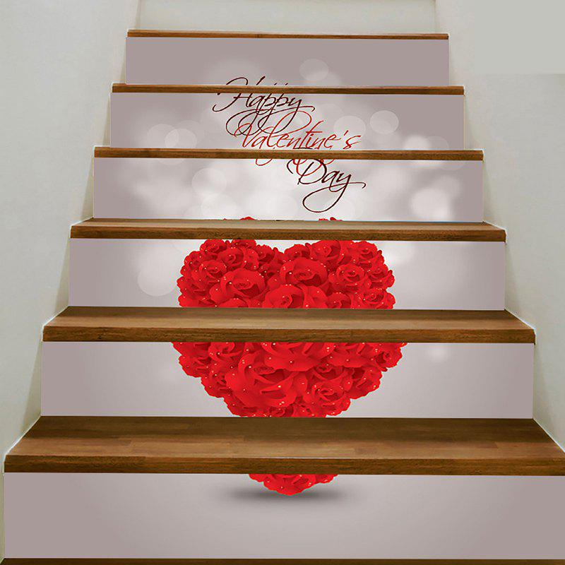 Autocollants d'escalier amovibles Rose Heart Print