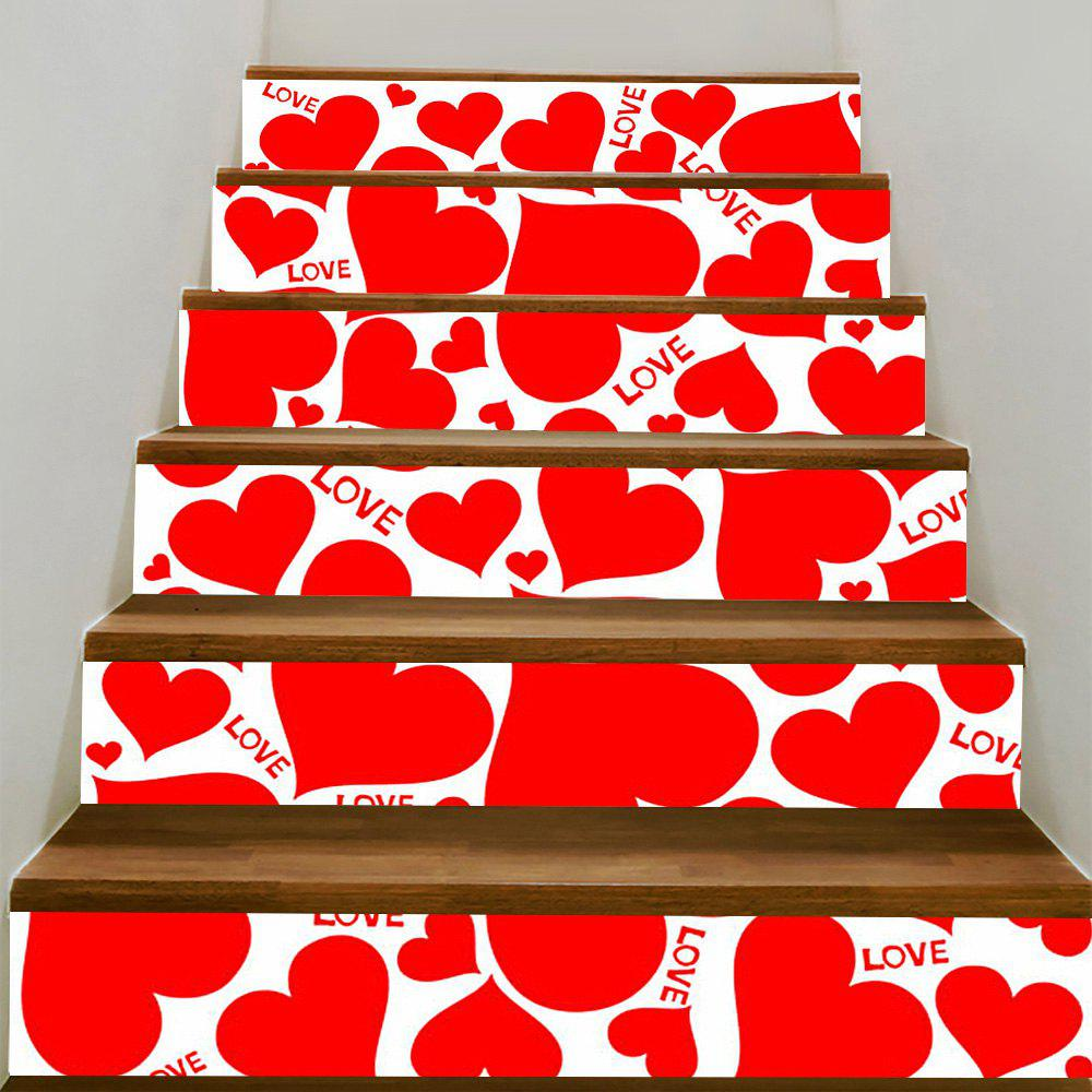 Store Valentine's Day Heart Shape Printed Stair Stickers
