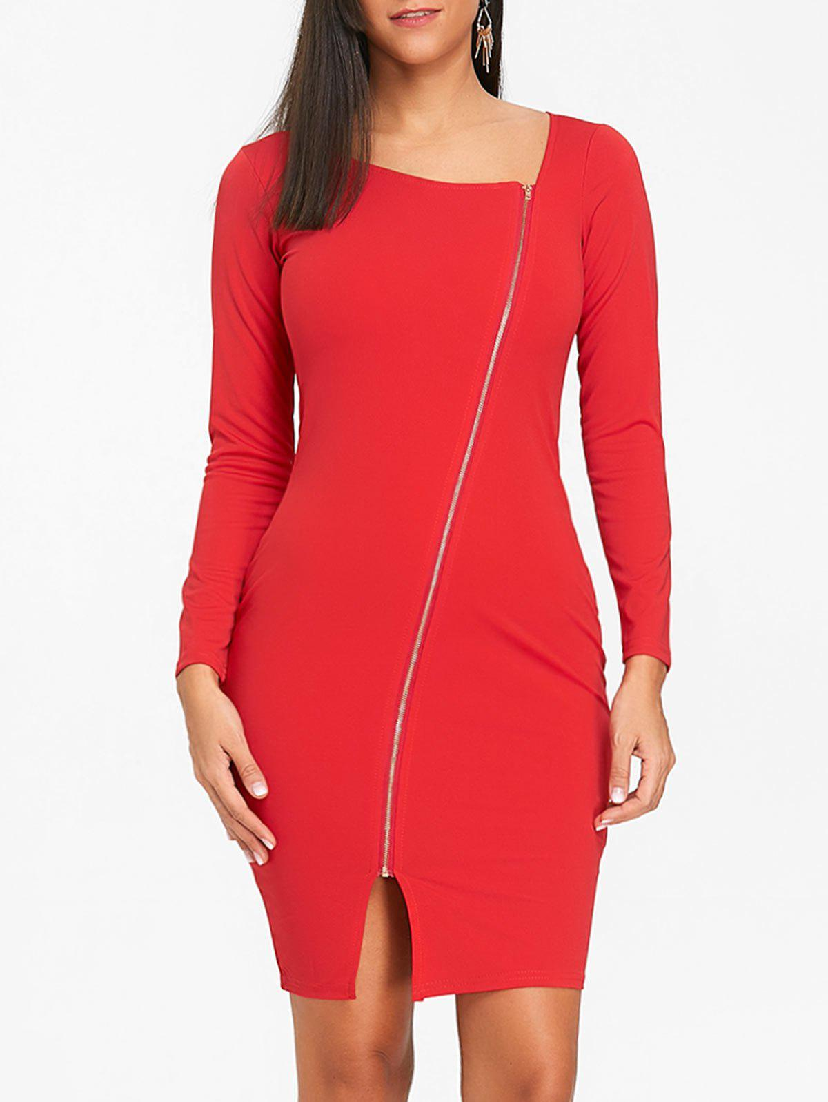 Sale Full Zip Party Bodycon Dress