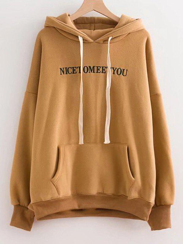 Discount Letter Embroidered Oversized Drawstring Hoodie