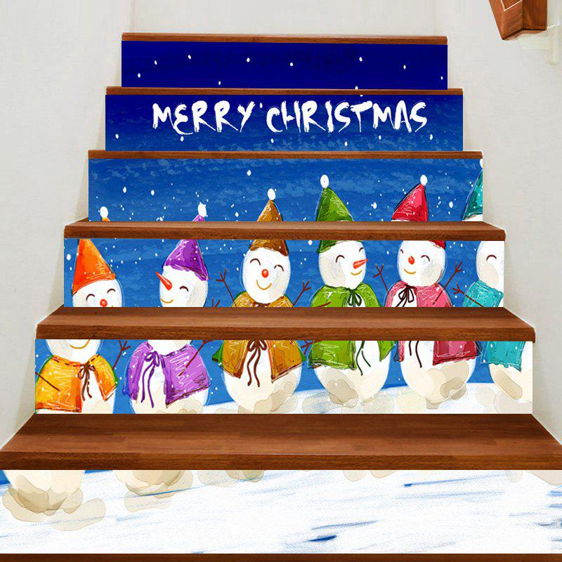 New Christmas Smiling Snowmen Team Patterned Stair Stickers