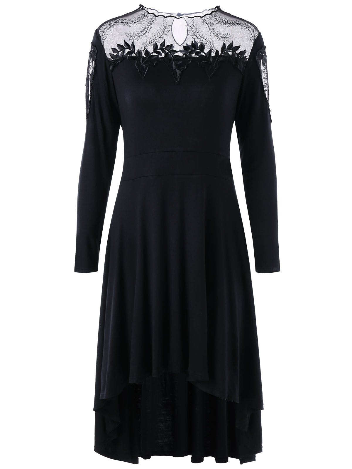 New Plus Size Sheer Appliqued High Low Dress