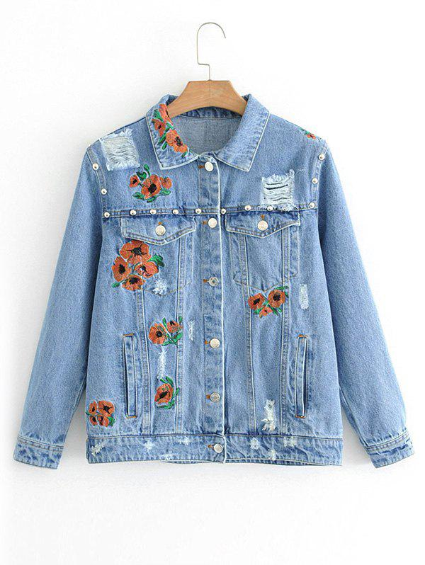 Discount Floral Embroidered Ripped Button Up Jean Jacket