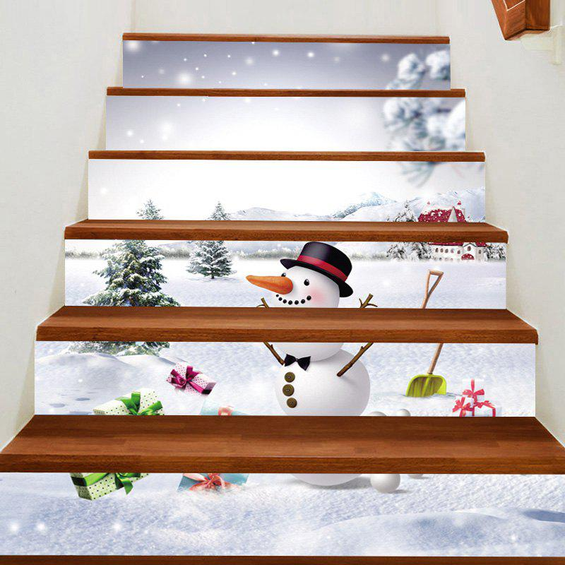 Discount Snowfiled Snowman Present Patterned Stair Stickers