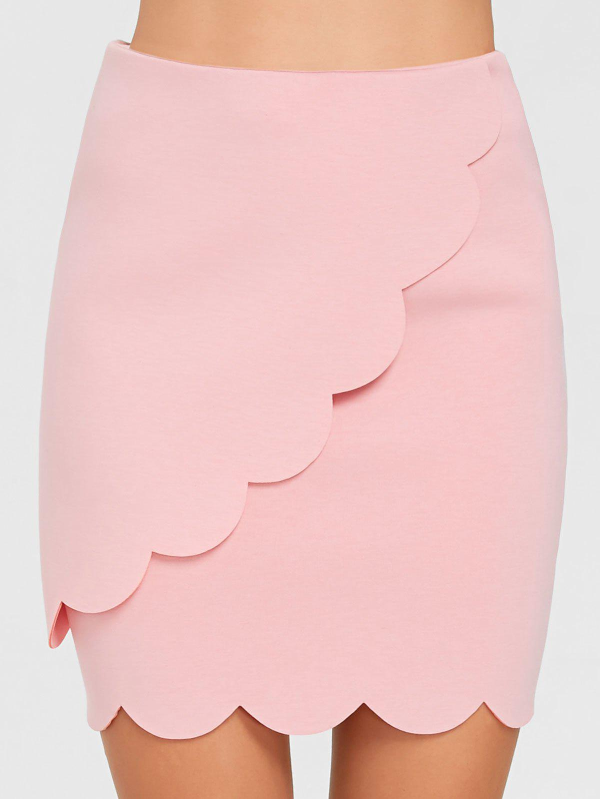 Fancy High Waisted Scalloped Mini Bodycon Skirt