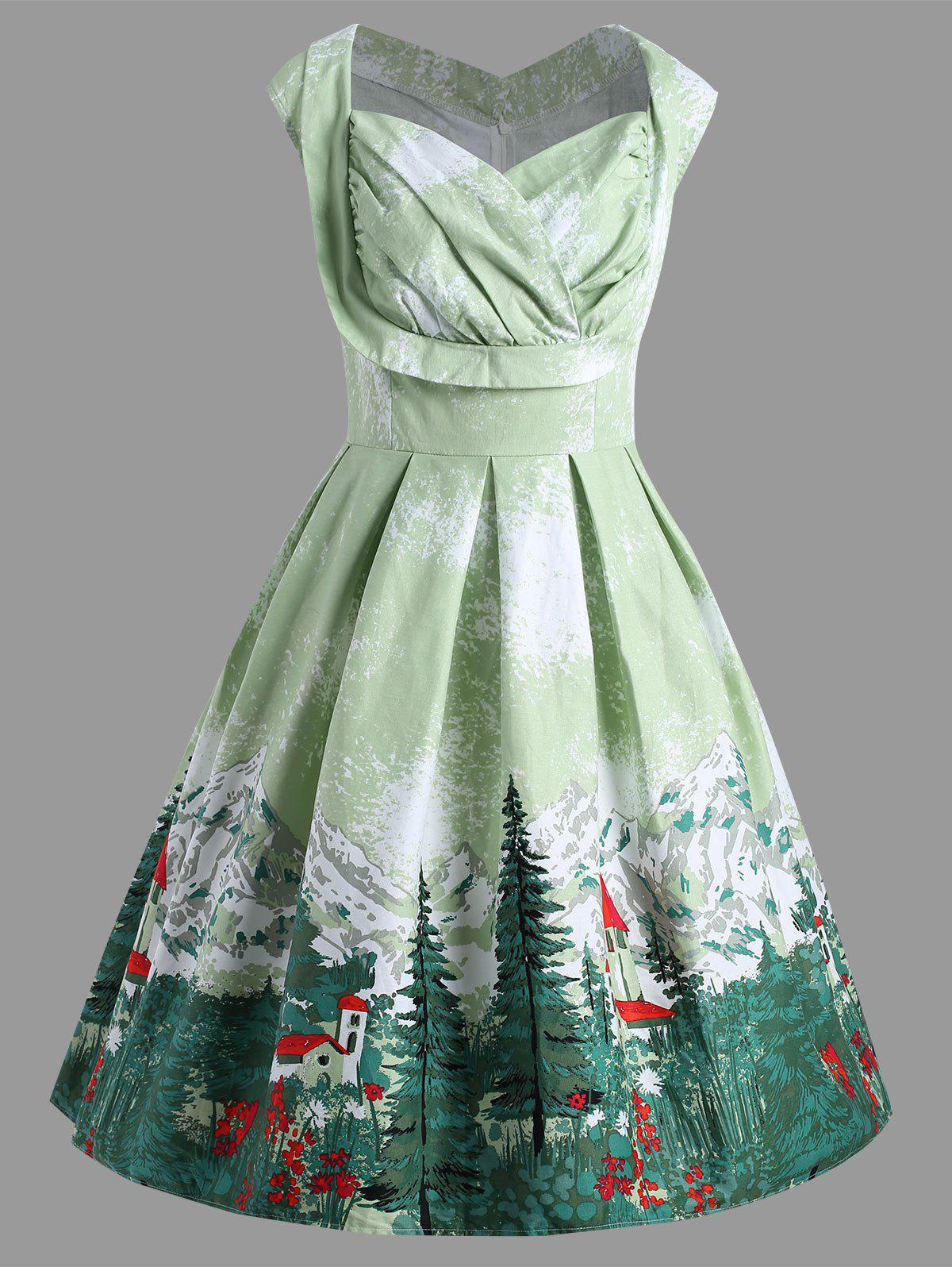 Store Christmas Ruched Forest Print Plus Size Vintage Dress