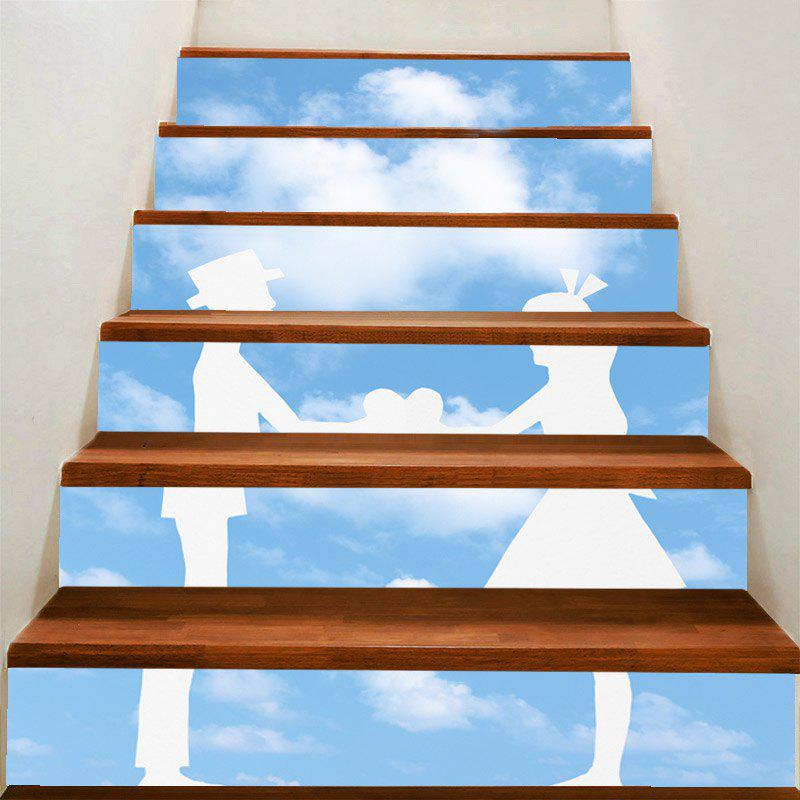 Discount Valentine's Day Bluesky and Lovers Print Enviromental Stair Stickers