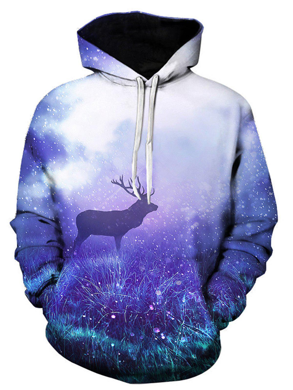 Sweat à Capuche Imprimé Renne et Galaxie 3D Multicolore 3XL