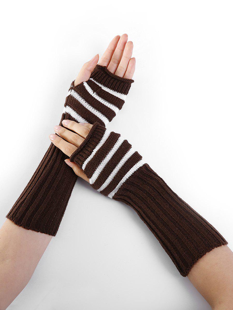 Store Outdoor Striped Pattern Embellished Knitted Fingerless Gloves