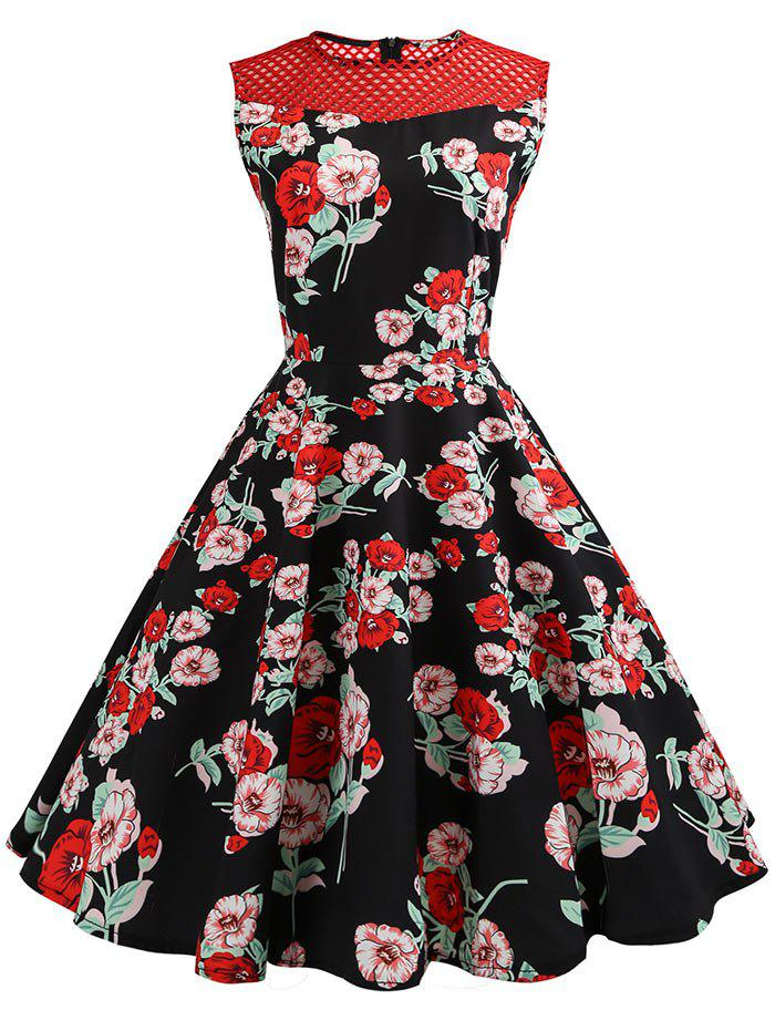 Outfits Mesh Insert Floral Print A Line Dress