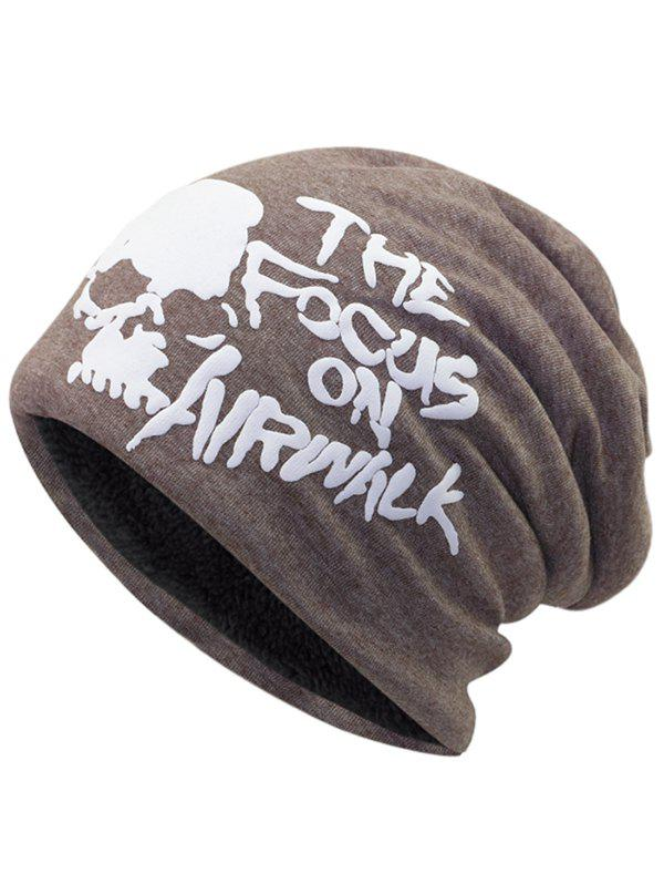 Online Outdoor Skull and Letter Pattern Two Layers Lightweight Beanie