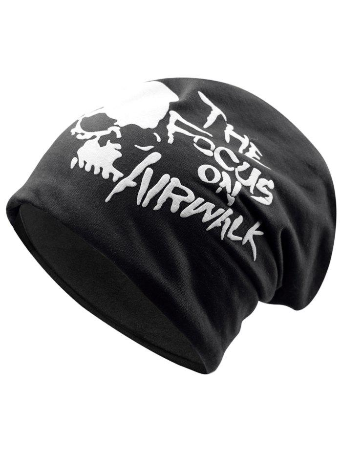 New Outdoor Skull and Letter Pattern Two Layers Lightweight Beanie