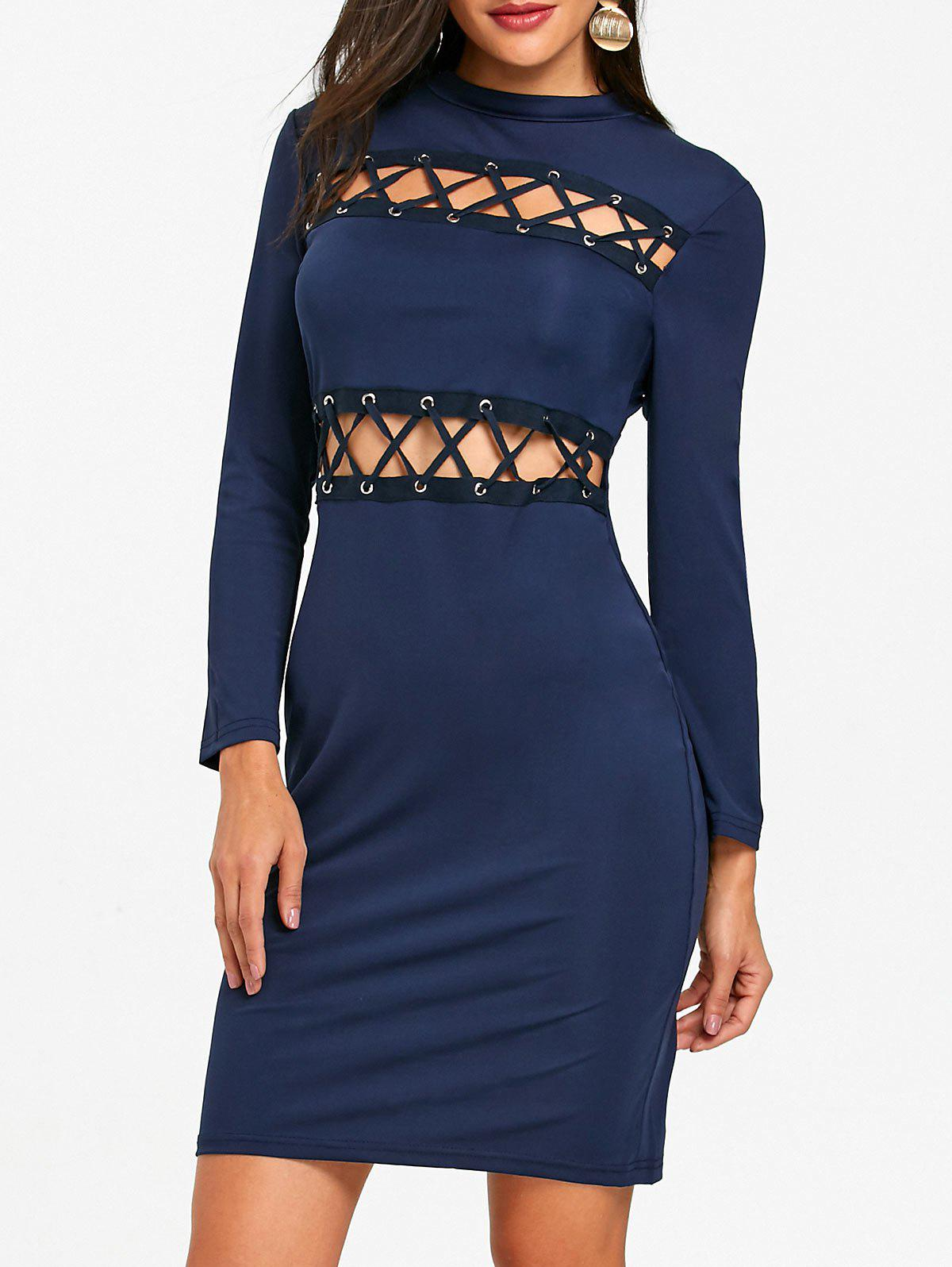 New Hollow Out Lace Up Tight Club Dress