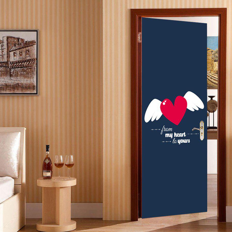 Unique Heart Wings Pattern Valentines Day Door Cover Stickers