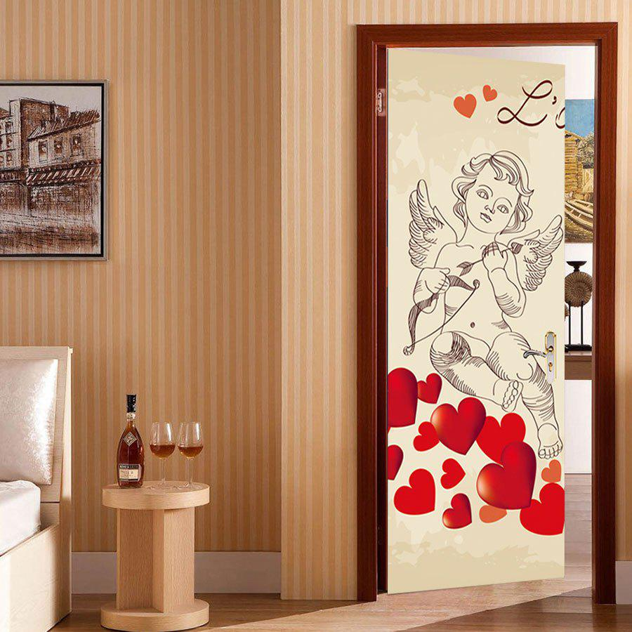 Cheap Cupid Heart Pattern Valentines Day Door Cover Stickers