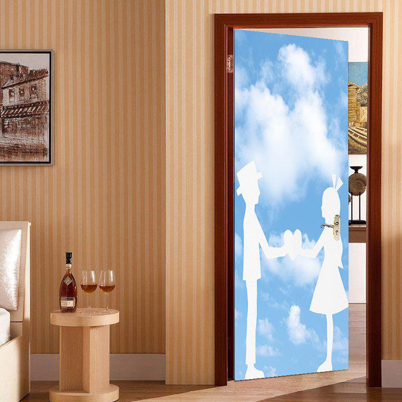 Fancy Valentine's Day Bluesky and Lovers Print Enviromental Removable Door Stickers