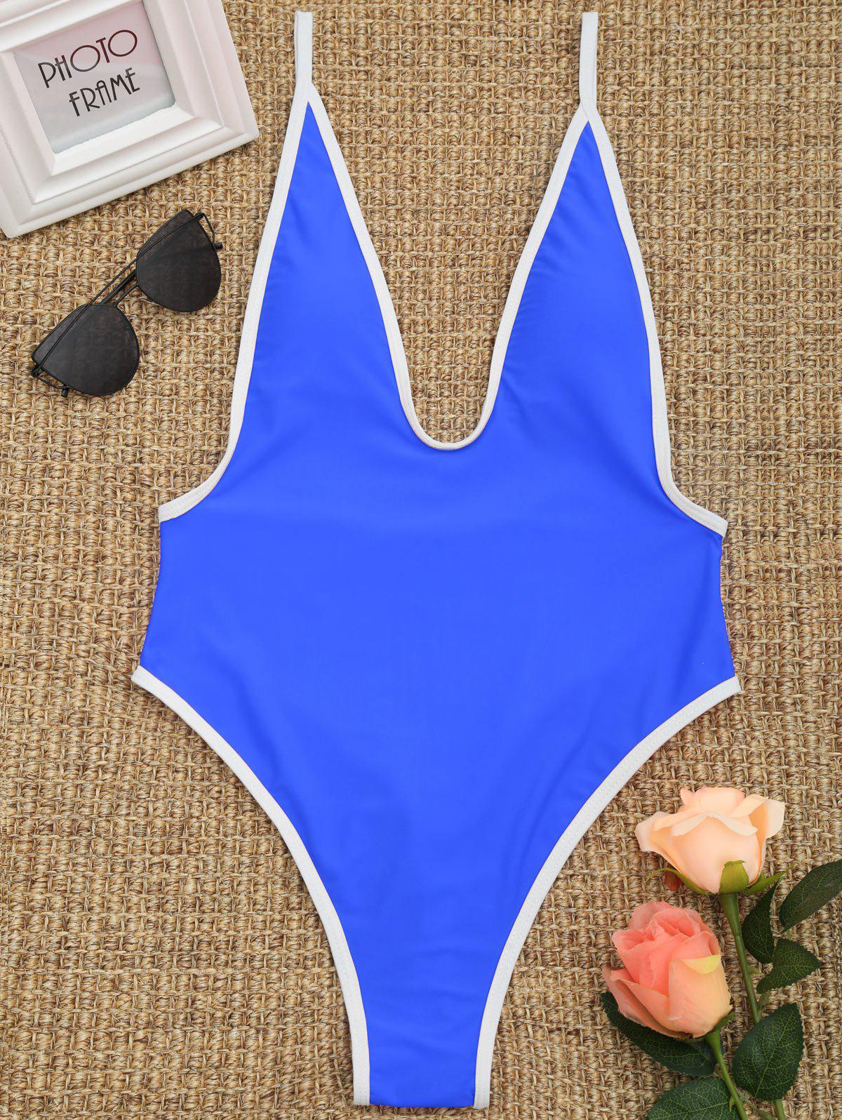 Affordable Contrast Trim High Cut Thong Swimsuit