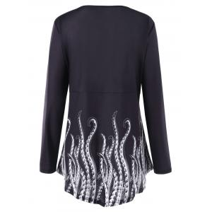 Plus Size Long Sleeve Front Knot Printed Top -