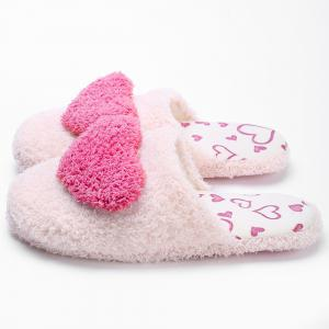 Closed Toe Heart Faux Fur House Slippers -